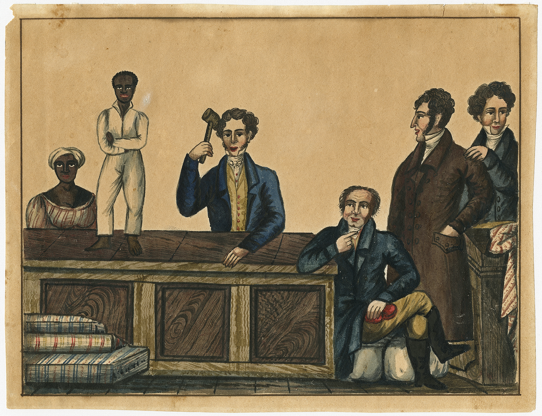 Slave Auction; ca. 1831; ink and watercolor; The Historic New Orleans Collection, 1941.3. Photograph courtesy of The Historic New Orleans Collection