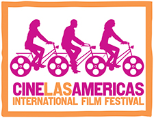 "pink graphic of three people on bicycles with text below in orange and pink, ""Cine Las Americas International Film Festival"""