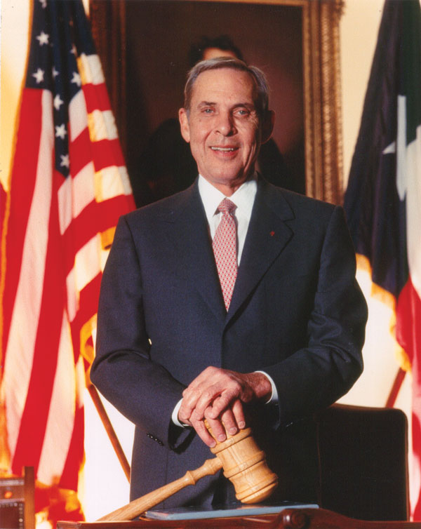 Official portrait of Lieutenant Governor Bob Bullock in the Texas Senate chamber. Courtesy of Senate Media Services, W.R. Poage Legislative Library, Bob Bullock Archive, Baylor University, Waco.