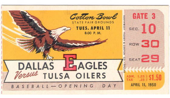 eagles baseball opening day ticket 1950