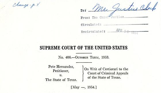 hernandez v texas Us supreme court hernandez v texas, 347 us 475 (1954) hernandez v  texas no 406 argued january 11, 1954 decided may 3, 1954 347 us 475.