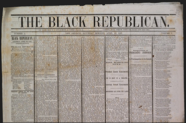 Black Republican newspaper front page, 1865