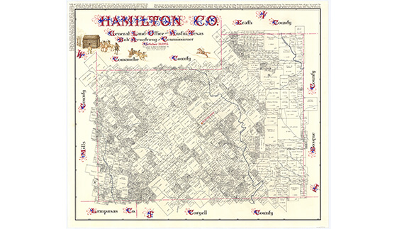 Hamilton County Map by Eltea Armstrong Bullock Texas State History