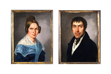 Oil on walnut portraits of Caroline and Wilhelm Bruckisch, German immigrants to New Braunfels