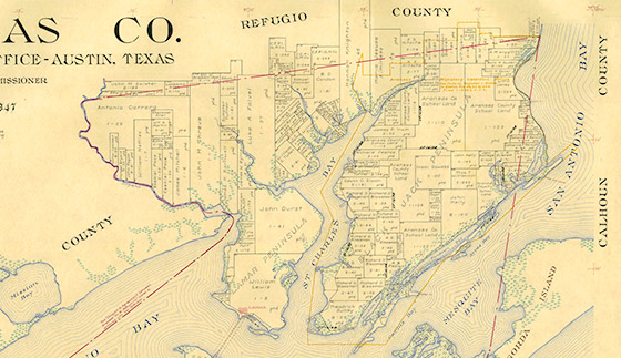 Aransas County Map By Eltea Armstrong Bullock Texas State - County map