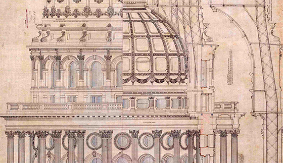 Architectural Drawing Of The Texas State Capitol