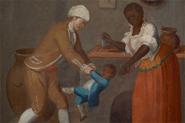Painting by Francisco Clapera of a family in Spanish Colonial Texas