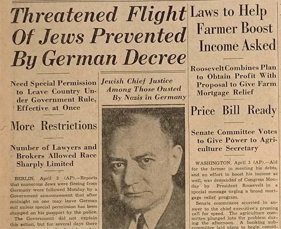 "Dallas Morning News, ""Threatened Flight of Jews Prevented by German Decree"""