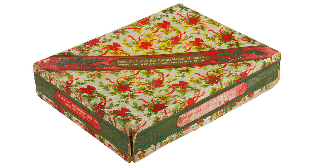 Vintage printed holiday-themed grapefruit gift box