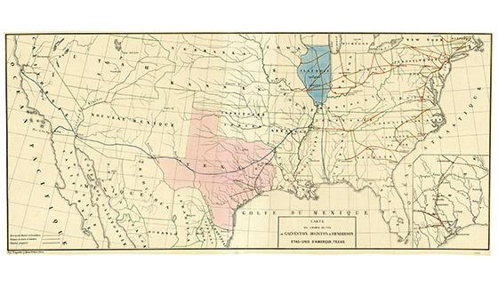 Map of the Galveston Houston and Henderson Railroad Bullock Texas