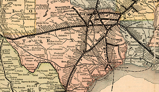 Railroad Map Of Texas.Map Of The Southwest Railway System Bullock Texas State History Museum