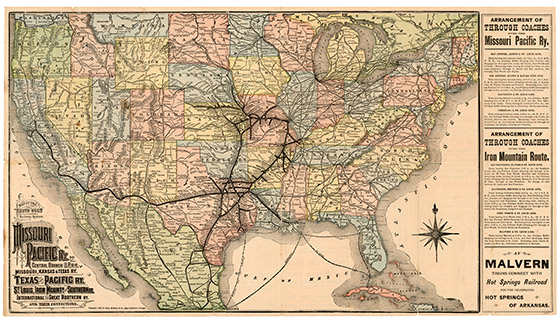 Map Of The Southwest Railway System 1883