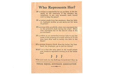 Suffrage flyers campaigning for women's voting rights in Texas