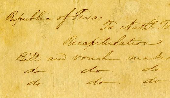 First Republic of Texas Reimbursement Request and Receipt