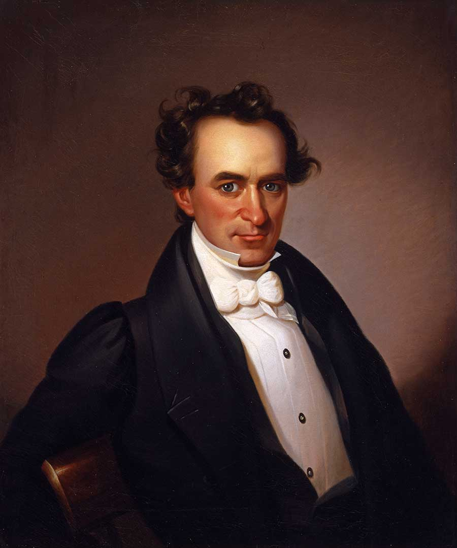 Painted by an unknown 19th century artist, this portrait of Stephen F. Austin hangs in the Senate Chamber.