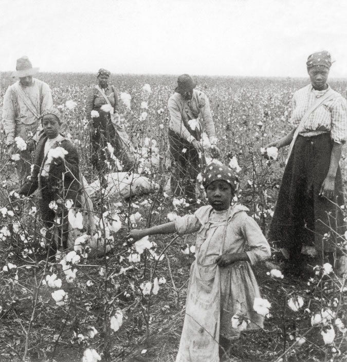 Though black Texans rejoiced at the news of their emancipation, many struggled to earn a living and care for their families after the Civil War. In addition, many could not read or write and were coerced into becoming sharecroppers, or farm tenants. This meant that they rented land from landowners, and paid for the land and their expenses with crops, which kept many African Americans at the time in a cycle of debt and poverty. This image shows a group of black sharecroppers in the early twentieth century. Courtesy Briscoe Center for American History, University of Texas at Austin