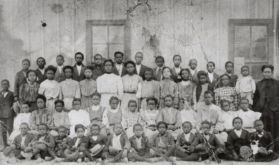 This image shows the students of Brackenridge Elementary School and their teacher in Austin, Texas, in the early 1900s. Schools were among the many segregated institutions in the late 19th and early 20th centuries. Black teachers earned significantly less than white teachers; black schools suffered from lack of funding for supplies and facilities; and black students had fewer options for higher education. University of North Texas Libraries, The Portal to Texas History; courtesy Austin History Center, Austin Public Library