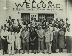 This image shows members of the Southwest Region NAACP in Dallas, Texas, in March 1950. Lulu B. White is pictured in the front row wearing a black dress. To the right is Thurgood Marshall, who famously argued on behalf of the NAACP during the Brown v. Board of Education of Topeka case and later became the first African American to be appointed to the United States Supreme Court. Juanita Jewel Shanks Craft Collection, di_02534, The Dolph Briscoe Center for American History, The University of Texas at Austin