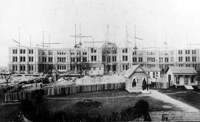 Texas State Capitol construction, 1886, Austin, Texas.
