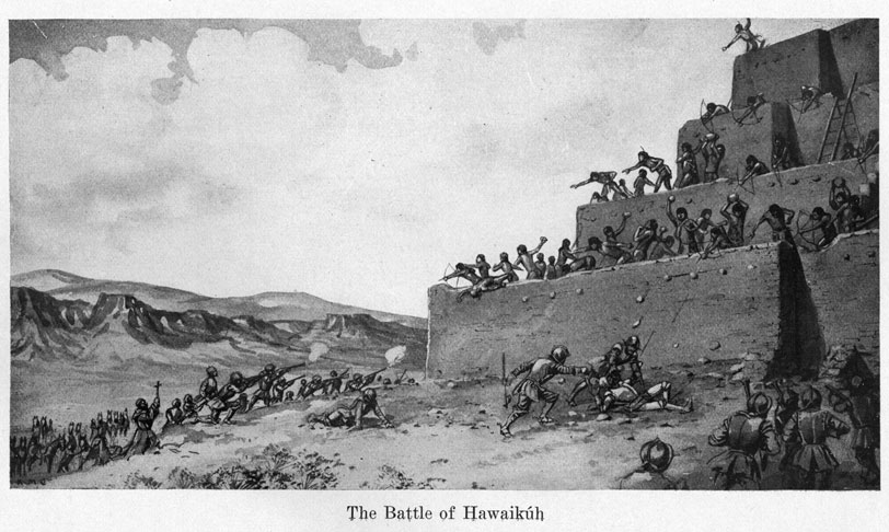 "American artist Kenneth Chapman depicted the battle between Spanish soldiers and Zuñis at Hawikuh in ""Battle of Hawikuh, Coronado's attack of July 6, 1540."" Chapman created this artwork in 1911. Battle of Hawikuh, Coronado's attack of July 6, 1540, 1911.  Courtesy of the Palace of the Governors Photo Archives (NMHM/DCA), 048918"