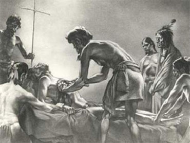 Cabeza de Vaca as a healer. Painting by Tom Lea. Image courtesy of Paul L. Foster School of Medicine, El Paso