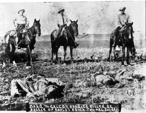 Texas Rangers and local vigilantes exerted little effort to distinguish between rebellious Tejanos and residents not taking part in the uprising. Shortly after a Mexican raid on the Norias Ranch, unknown assailants killed four Tejanos found in the area—three of whom were identified as Abraham Salina, Eusebio Hernández, and Juan Tobar. The following morning, three Texas Rangers including Captains William Hanson and James Monroe Fox posed with their lassos around the lifeless bodies. The picture soon circulated as a souvenir postcard, dehumanizing those slain and prompting outrage amongst Tejanos. Robert Runyon Photograph Collection, RUN00096, The Dolph Briscoe Center for American History, The University of Texas at Austin