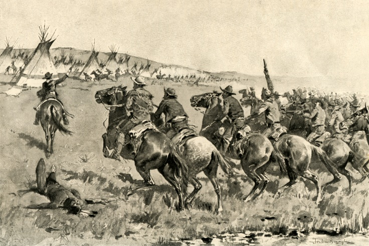 "At the start of the Battle of Antelope Hills, Comanche headman Pohebits Quasho rode out to meet the Rangers. He was nicknamed ""Iron Jacket"" for the Spanish armor he wore and his people believed he was invincible. When the Rangers shot and killed him at close range and then went on to overwhelmingly defeat the Comanches, it was a morally devastating loss for the American Indians. This painting by Frederic Remington depicts the Texas Rangers charging the Comanche village at Little Robe Creek, as described to Remington by Texas Ranger Colonel ""Rip"" Ford."