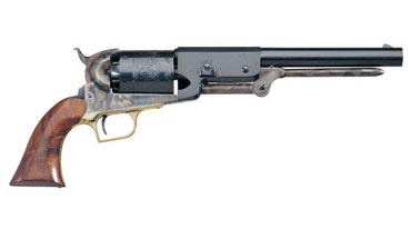 By the mid-1840s, gun manufacturer Samuel Colt heard that his five-shot Paterson revolver had served Texas Rangers well in their fights against Comanche warriors. In 1846, Colt approached Texas Ranger Samuel Walker to ask how the gun could be improved. From their discussions, the larger, more powerful Colt six-shooter was born. Colt even engraved a scene from one of Ranger Jack Hays's most famous battles against Comanches on the cylinder. Colt did get one detail wrong, though: he showed Hays and his men wearing the uniforms of U.S. Dragoons. Courtesy Autry National Center, Los Angeles