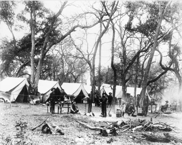 As more people moved into West Texas and settlements on the Texas frontier grew, the Rangers continued to patrol rural areas looking for cattle thieves and other lawbreakers. While out on patrol the Rangers camped in tents just as they had done for decades. General Photograph Collection, UTSA Special Collections