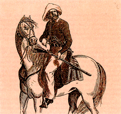 During the Texas Revolution, the Texas provisional government authorized Rangers to be paid $1.25 per day plus $5.00 per month for food and supplies; officers earned $50 to $60 per month.  However, the men had to provide their own horses, tack, weapons, and ammunition.  This 1848 print depicts a Ranger astride his horse. Courtesy Library of Congress, Prints and Photographs Division
