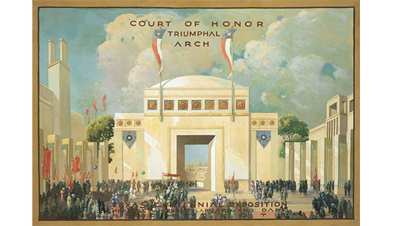 "Court of Honor, oil on canvas by Eugene Gilboe (46""w x 32""h). Courtesy the Family of George Dahl: Ted and Gloria Akin, Adrienne Akin-Faulkner, Faulkner Design Group, Dallas."
