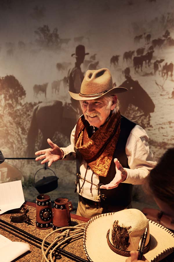 Man wearing a Texas Cowboy outfit during the Bullock Museum's Living History Day