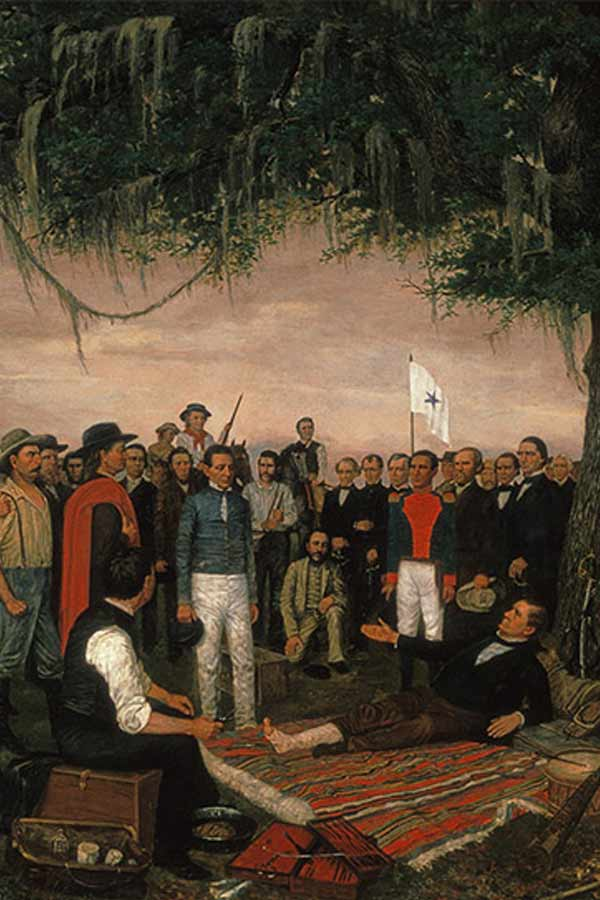 "Painting titled, ""The Surrender of Santa Anna,"" by William Henry Huddle"
