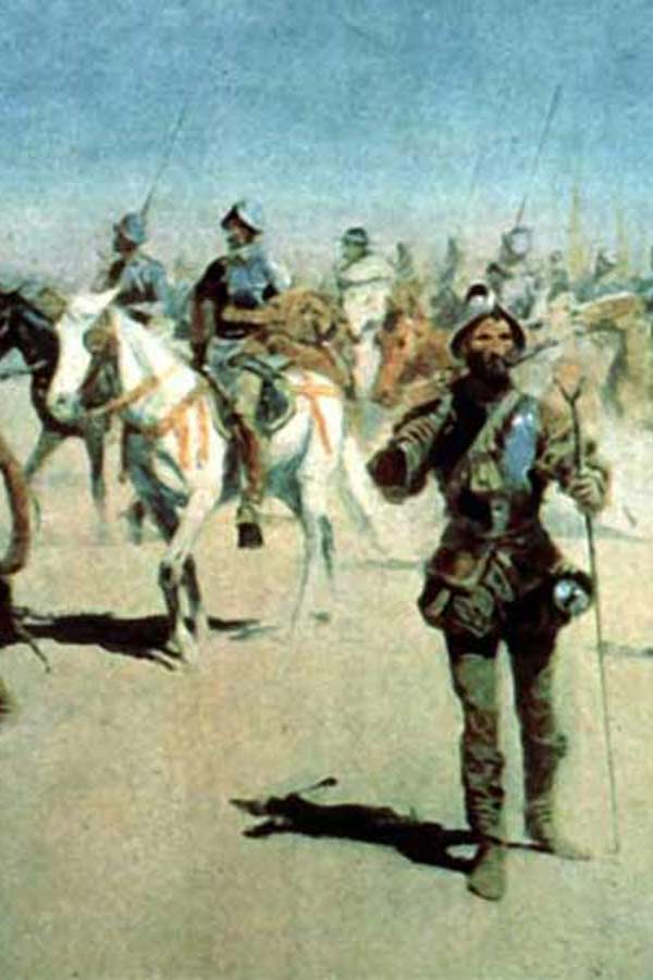 Painting of Coronado walking with a bayonet amongst men on horses and members of the Karankawa tribe