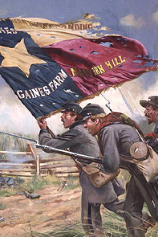 Painting of the Civil War in Texas, three men are rushing forward, two with bayonets and one with a Texas Flag