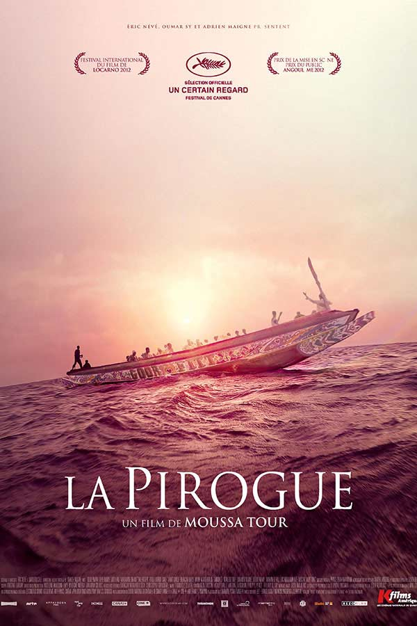 Movie poster of a pirogue (boat) on the open water