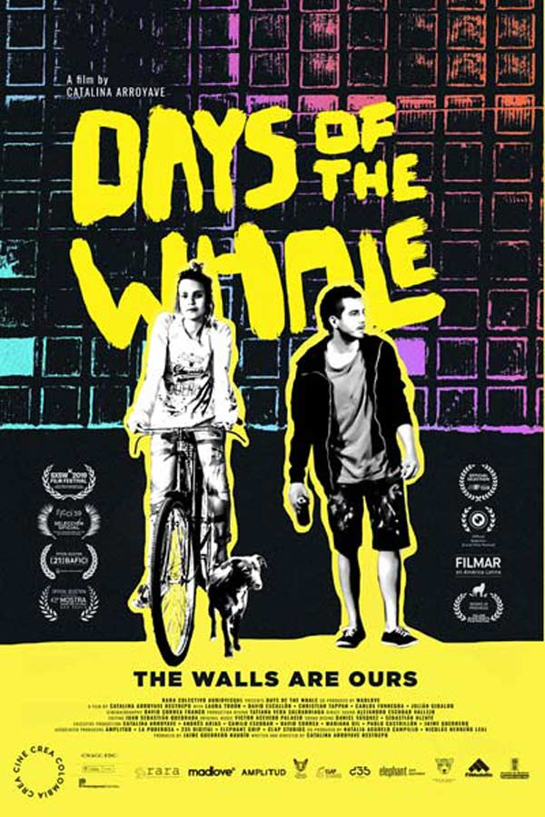 "poster from the film ""Days of the Whale"" of a woman on a bike and a man standing near a brick wall, they are outlined in bright yellow. Text in bright yellow reads, ""Days of the Whale"""