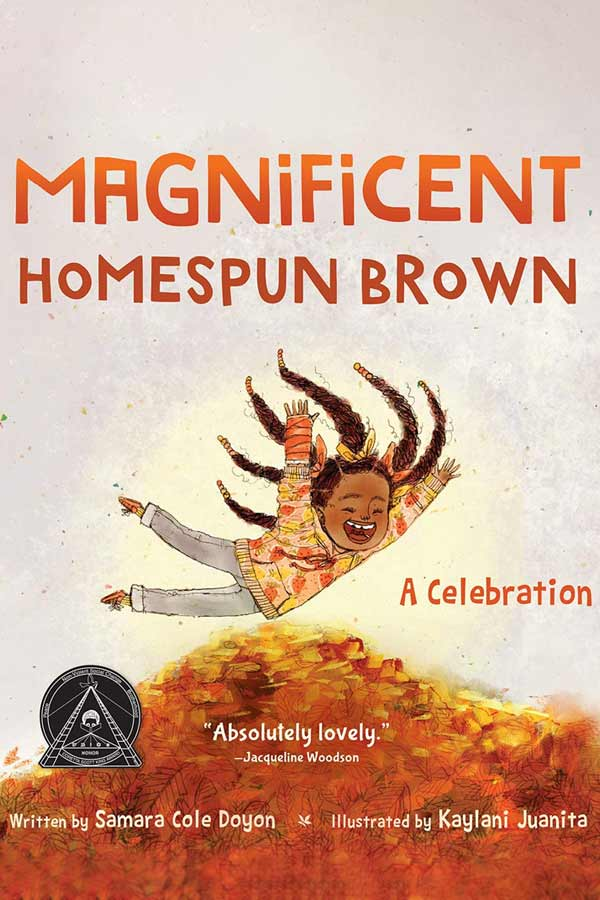 "illustration of a young girl in the air above a pile of orange and red leaves, title reads ""MAGNIFICENT HOMESPUN BROWN"""
