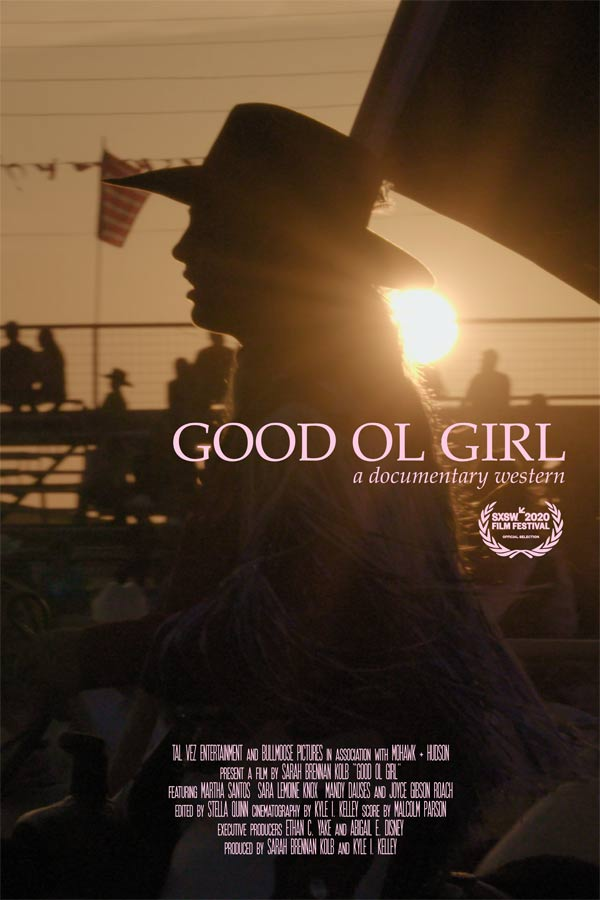 "silhouette of a person with a cowboy hat on a horse, pink text that reads, ""Good Ol Girl"""