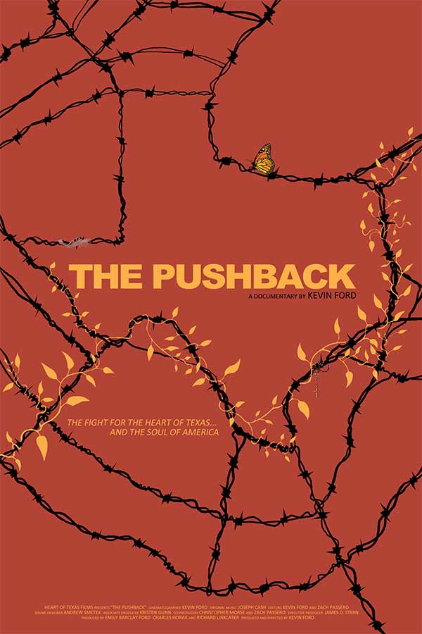 "Barbed wire in the shape of Texas against a red-orange background, text that reads, ""THE PUSHBACK"""