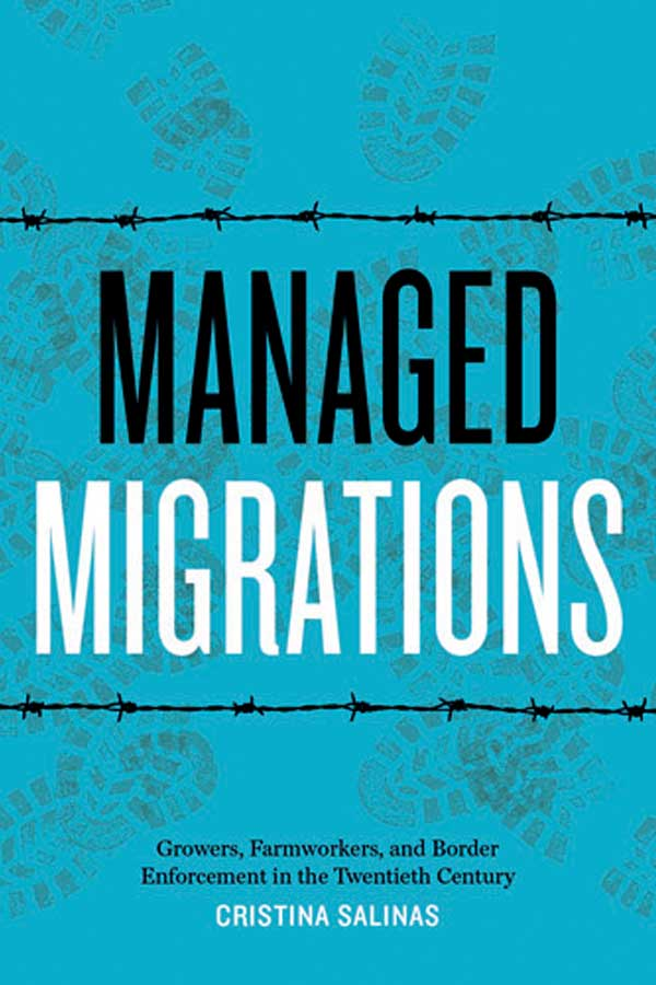 "blue book cover with two lines of black barbed wire on the top and bottom and light green footprints on the background. Text that reads, ""Managed Migrations"""