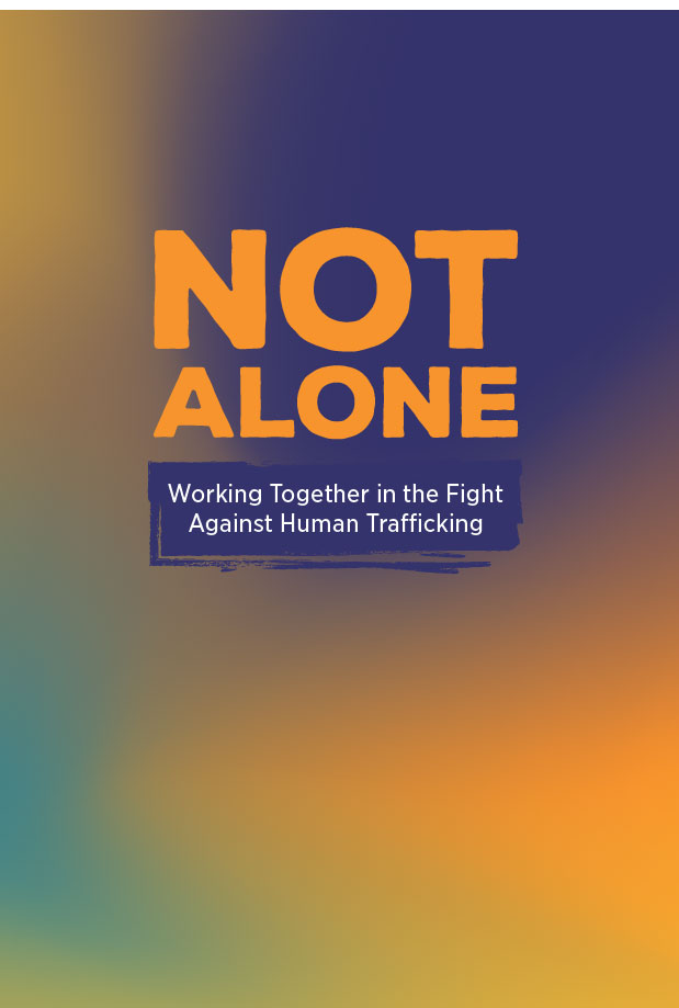"orange, purple, blue and yellow gradient with purple text that reads, ""NOT ALONE"""
