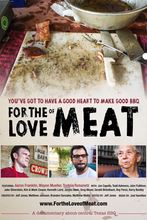For the Love of Meat sits down with some of the top pitmasters in central Texas to explore the philosophy, history, and process behind their craft — from the wood, to the pits, to the meat, to the technique and skill.
