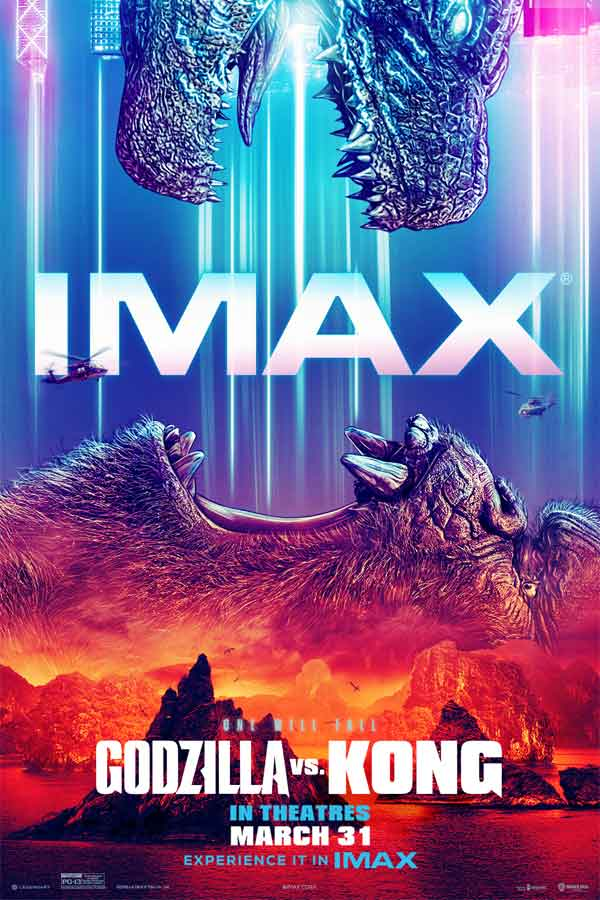 a mostly blue and red poster with Godzilla's open mouth poking out from the top and King Kong's open mouth from the bottom. Text reads,