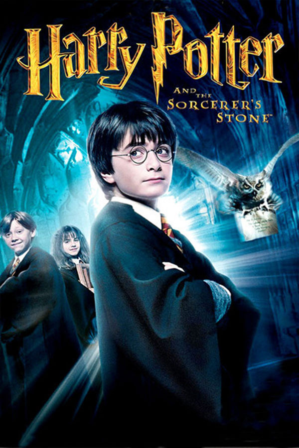 poster for Harry Potter and the Sorcerer's Stone, young boy looking above the camera, dressed in black, an owl flies in the background