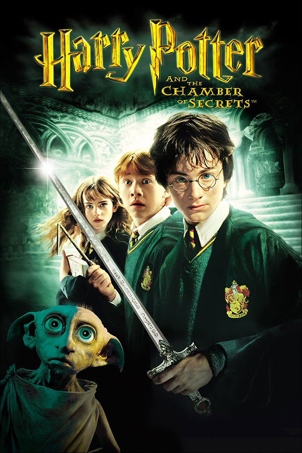 poster for Harry Potter and the Chamber of Secrets, three young teens wearing black robes, the main boy is holding a sword