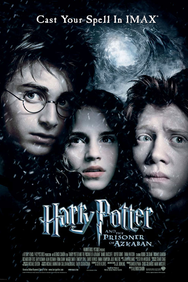 poster for Harry Potter and the Prisoner of Azkaban, three young teens wearing black robes, looking scared against a dark sky