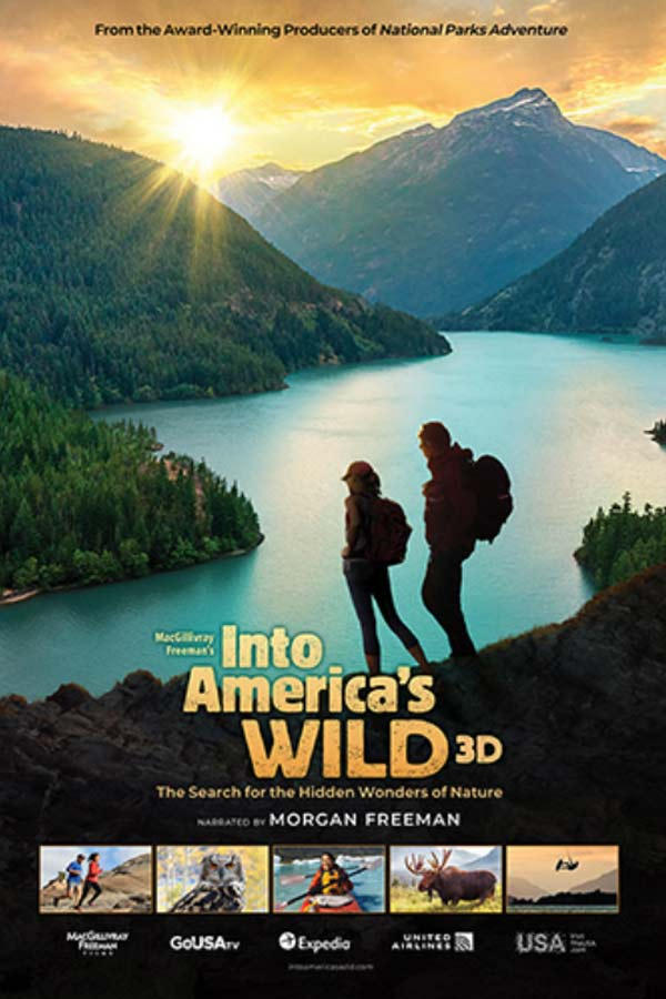 Into America's Wild title treatment of two people staring out at the mountains