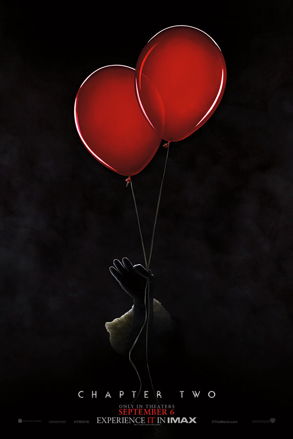 It: Chapter 2 poster with a clown hand holding two red balloons
