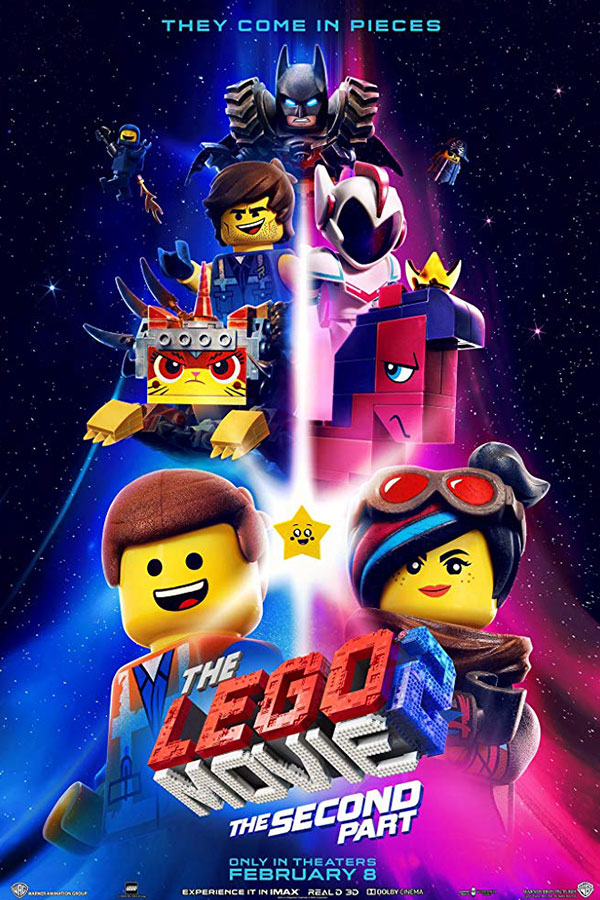 Film title, Lego Movie 2: The Second Part, surrounded by Lego pieces